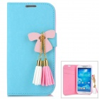 Protective PU Leather Flip Open Case w/ Decoration Tassel for Samsung Galaxy S4 I9500  - Blue + Pink