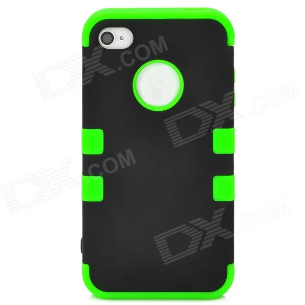 3-in-1 Cool Protective Silicone + PC Case for Iphone 4 / 4S - Black + Green