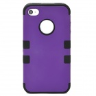 3-in-1 Cool Protective Silicone + PC Case for Iphone 4 / 4S - Purple + Black