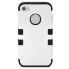 3-in-1 Cool Protective Silicone + PC Case for Iphone 4 / 4S - White + Black