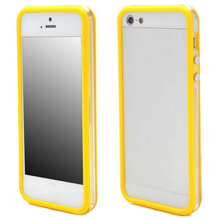 Protective TPU Bumper Frame for Iphone 5 - Yellow + Transparent White protective tpu bumper frame case for iphone 6 4 7 yellow black