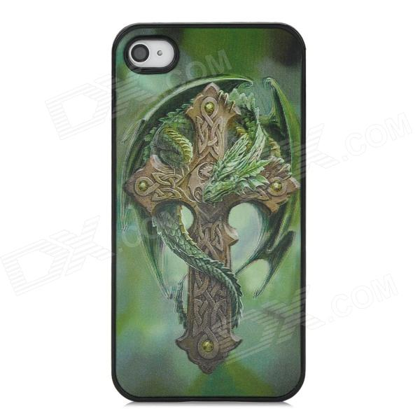 3D Dragon Cross Style Protective Back Case for Iphone 4 / 4S - Green stylish bubble pattern protective silicone abs back case front frame case for iphone 4 4s
