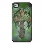 3D Dragon Cross Style Protective Back Case for Iphone 4 / 4S - Green