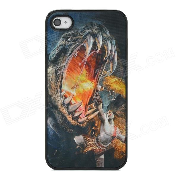 3D Man Fighting with Tyrannosaurus Style Protective Back Case for Iphone 4 / 4S - Multicolor stylish bubble pattern protective silicone abs back case front frame case for iphone 4 4s