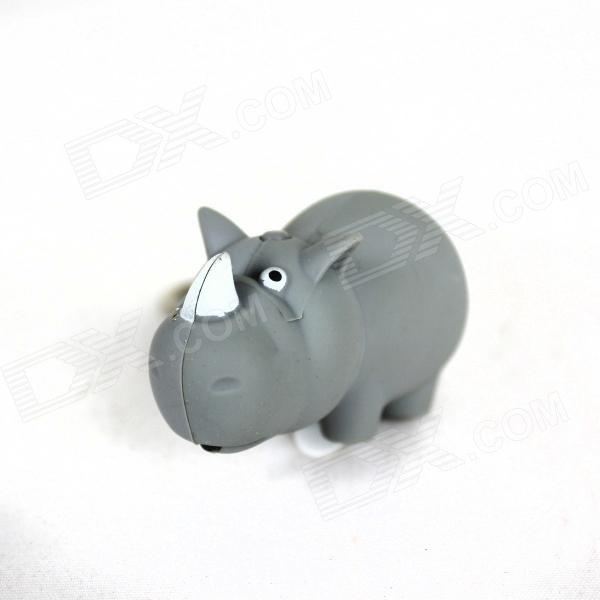 Rhino Style LED White Light Keychain - Grey (3 x AG10) lovely pig style white light 2 led keychain w sound effect beige deep pink 3 x ag13