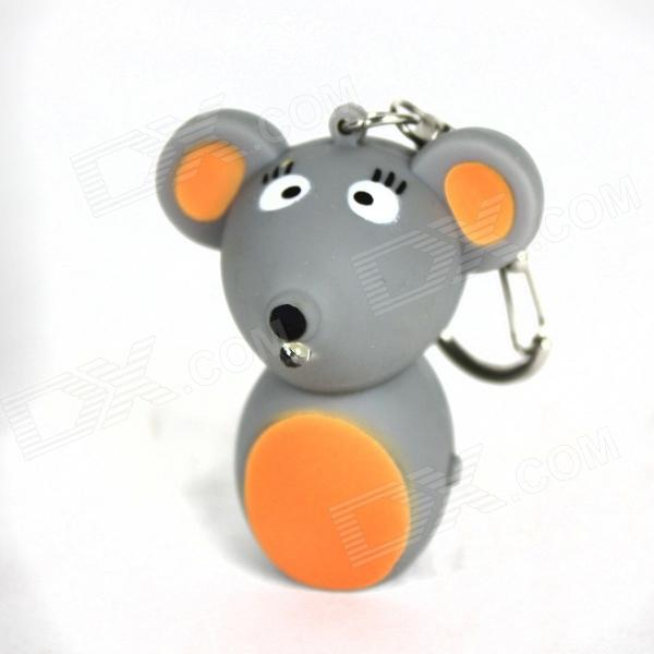 Mouse Style LED White Light Keychain w/ Sound Effect - Grey + Orange (3 x AG10) dinosaur style led purple light keychain w sound effect green white 3 x ag10
