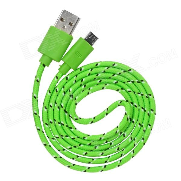 Universal Nylon Housing USB Male to Micro USB Data Sync & Charging Cable w/ LED Light - Green (1m) usb male to micro usb male data charging cable w colorful light for samsung n7100 yellow 99cm