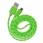 Universal Nylon Housing USB Male to Micro USB Data Sync & Charging Cable w/ LED Light - Green (1m)