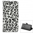 Leopard Pattern Protective PU Leather Case for HTC One M4 - White + Black