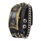 Men's Stylish Punk Skull Style Analogue Quartz Wrist Watch w/ PU Band - Black + Brass (1 x AG626)