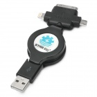 Retractable USB 2.0 to 8-Pin Lightning / 30-Pin / Micro USB Data / Charging Cable - Black