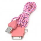 Love Heart Style USB 2.0 to 8-Pin Lightning / 30-Pin / Micro USB Data/Charging Nylon Cable - Pink