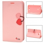 HELLO DEERE Cherry Series Fashion PU Leather Case w/ Hand Strap for Samsung N7100 Note 2 - Pink