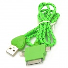 Love Heart Style USB 2.0 to 8-Pin Lightning / 30-Pin / Micro USB Data/Charging Nylon Cable - Green
