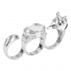 Stylish Fox Style Zinc Alloy + Resin Three Fingers Ring - Silver