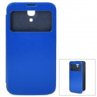 Protective PU Leather Case w/ Sleep Mode / Display Window for Samsung i9200 - Blue