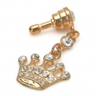 Stylish Sparkling Crystal Inlaid Crown Pendant 3.5mm Jack Anti-dust Plug for Cellphone - Golden