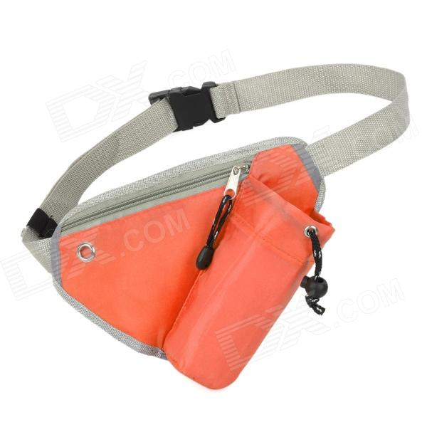 Outdoor Triangle Nylon Water Bottle Waist Bag - Orange + Grey gj4431 portable outdoor aluminum water bottle orange 400ml