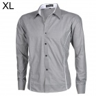 SS124 Men's Cotton Blended Fabrics Long Sleeves Shirt - Grey + White (XL)