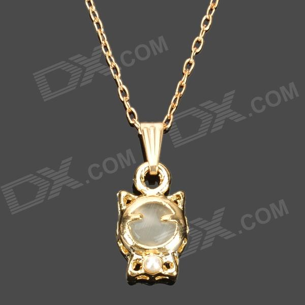Cute Cat Style Electroplated K Gold + Cat's Eye Pendant Necklace for Women - Golden bamboo style jade gold pendant necklace white golden