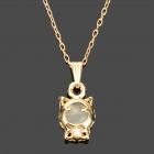 Cute Cat Style Electroplated K Gold + Cat's Eye Pendant Necklace for Women - Golden