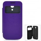Protective PU Leather Case w/ Sleep Mode / Display Window for Samsung Galaxy S4 Mini - Purple