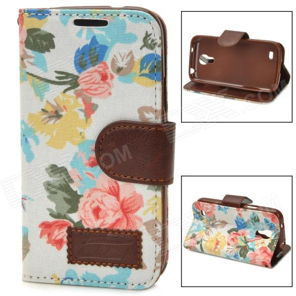Stylish Flower Pattern Protective PU Leather Case for Samsung Galaxy S4 Mini i9190 - Multicolor mooncase soft silicone gel side flip pouch hard shell back чехол для samsung galaxy s6 black