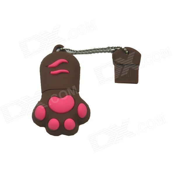 Cat Paw USB 2.0 Flash Drive - Brown + Red (8GB)