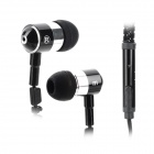 HXT-2045 Stylish Zipper 3.5mm Jack In-Ear Stereo Earphone w/ Mic for Iphone / Samsung + More - Black