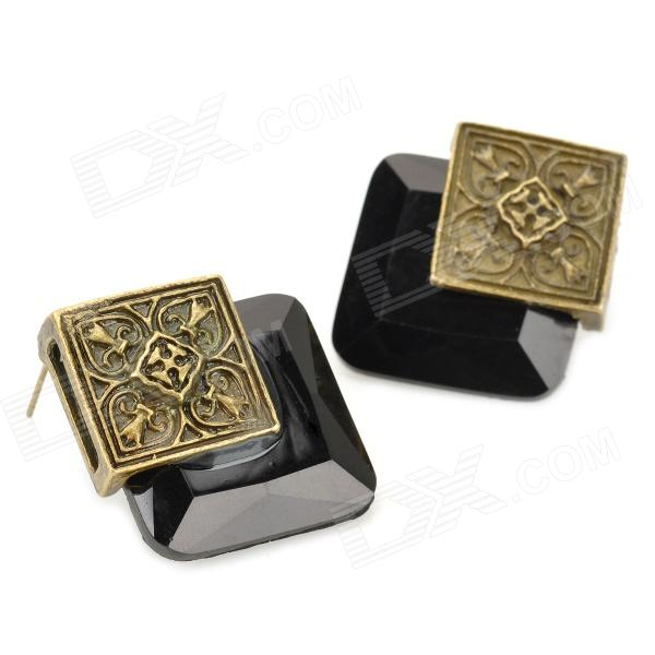 stud large products earrings shaped collections studs sterling black square classic onyx silver