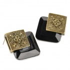 Square Shaped Stylish Crystal + Zinc Alloy Stud Earrings - Black + Bronze (Pair)