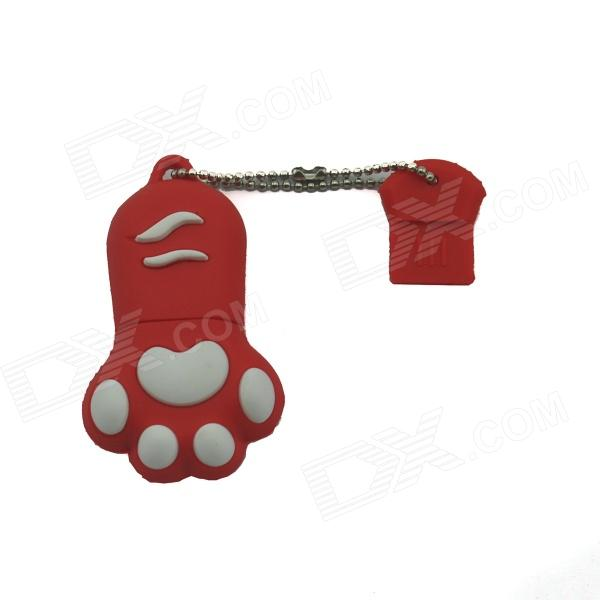 Cat Paw USB 2.0 Flash Drive - Red + White (8GB)
