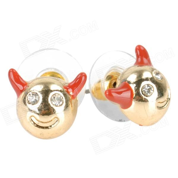 Little Evil Style Zinc Alloy Stud Earrings for Women - Golden + Red (2 PCS) 100 pcs lot of small glass vials with cork tops 1 ml tiny bottles little empty jars