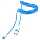 USB 2.0 to Micro USB Sync Data Coiled Cable for Samsung i9300 / i9100 / i9000 - Blue + White