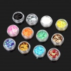 Square Shaped 12-in-1 Decorative Nail Art Laser Sequins Set - Multicolored