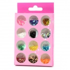 Square Shaped 12-in-1 decorativos Nail Art Laser lentejuelas Set - Multicolor