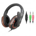 CHENYUN CY-711 Stereo Headphones w/ Microphone / Volume Control - Black + Orange (3.5mm Plug / 2m)