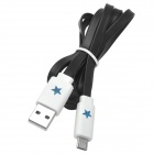 Universal USB to Micro USB Data/Charging Cable w/ LED Flashing Light for Cell Phone - Black