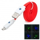 USB-Stecker an Micro-USB-Stecker Wohnung Ladekabel w / Blinkende LED Light for Samsung - Red (97 cm)
