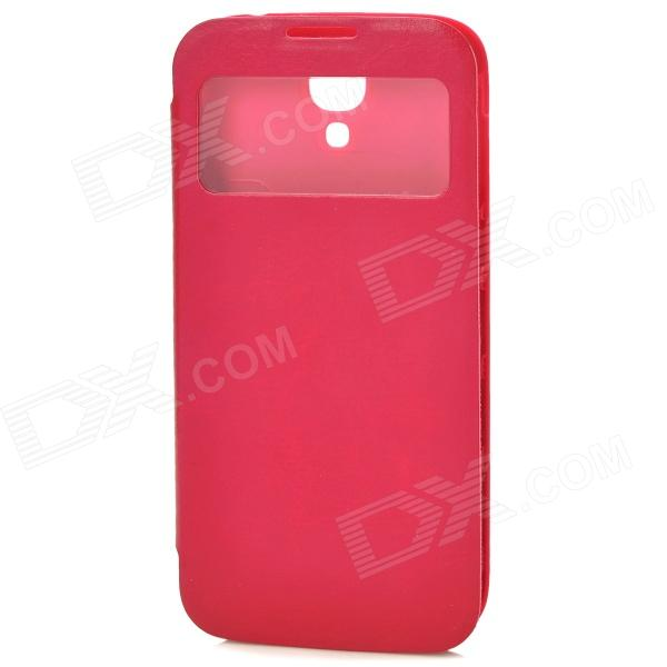 все цены на Protective PU Leather Case w/ Sleep Mode / Display Window for Samsung Galaxy S4 i9500 - Deep Pink