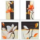 Handmade 4-in-1 Combination / Hand Painted Flower Oil Painting w/ Wooden Frame - Multicolored