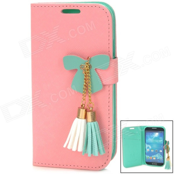 Bowknot Style Protective PU Leather + TPU Case for Samsung Galaxy S4 i9500 - Pink + Green cm001 3d skeleton pattern protective plastic back case for samsung galaxy s4