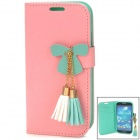 Bowknot Style Protective PU Leather + TPU Case for Samsung Galaxy S4 i9500 - Pink + Green