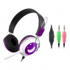 CHENYUN CY-714 Stereo Headphones w/ Microphone / Volume Control - Black + White + Purple