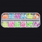 Round & Square Shaped Decorative 12-in-1 DIY Nail Art Sticker Pads - Multicolored