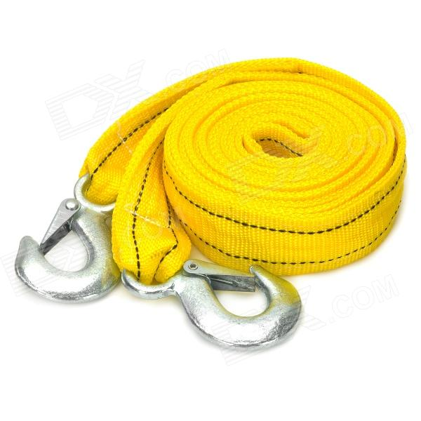 5 Ton Double Layer Polypropylene Fiber Tow Strap Rope w/ Dual Forged Hooks - Yellow (3.85m)