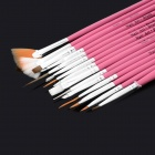 15-in-1 Makeup Art Design Painting Nail Brush Pens Set - Deep Pink + Silver