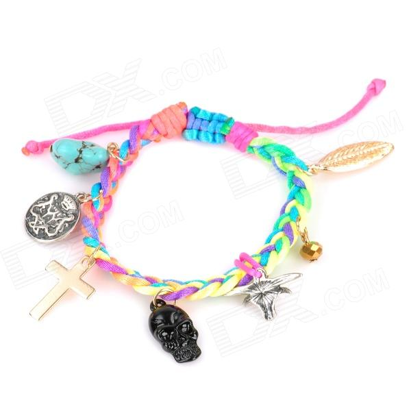 Stylish Woven Cord + Skull / Cross / Leaf / Cow Head / Turquoise Zinc Alloy Bracelet - Multicolored stylish woven cord skull cross leaf cow head turquoise zinc alloy bracelet multicolored
