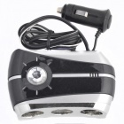 SD-1901T Triple Socket Car Cigarette Lighter Charger Adapter with USB Port - Black + Silver