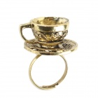 Retro Styling Coffee Cup Shaped Ring for Women - Brass